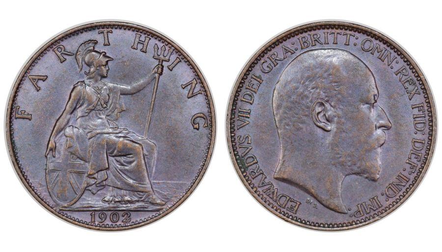 1902 Farthing, gEF, Edward VII, Freeman 580