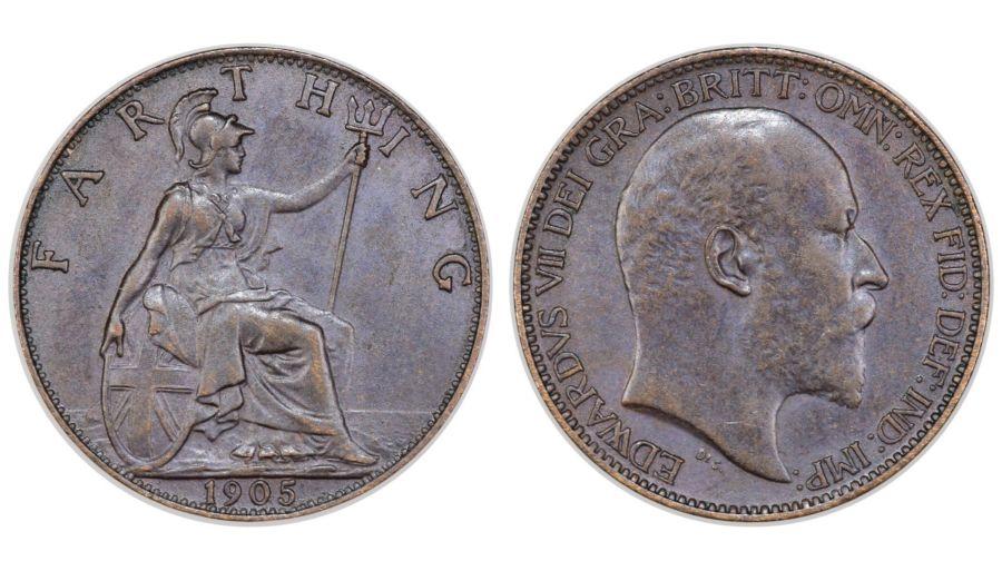 1905 Farthing, gEF, Edward VII, Freeman 583