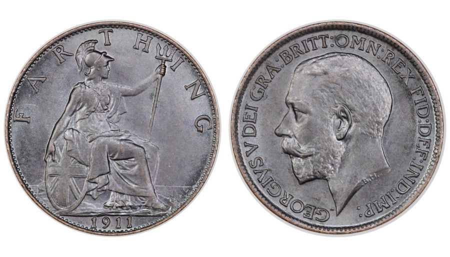 1911 Farthing, UNC or very near so, George V, Freeman 589