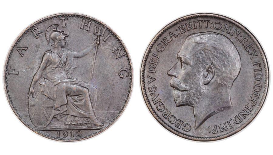 1912 Farthing, aUNC, Geroge V, Freeman 590