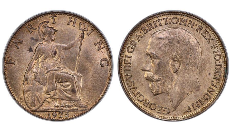 1925 Farthing, UNC, George V, Freeman 604