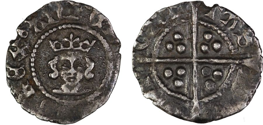 1361-9 Halfpenny, Edward III, Treaty period,  London mint, .4g, S. 1365 (variant), Withers 17d