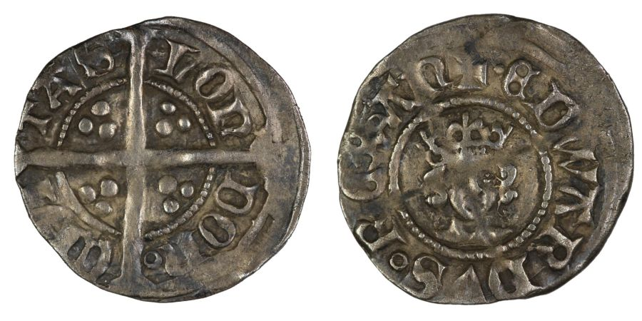 1361-9 Halfpenny, Edward III, Treaty period,  London mint, .6g, S. 1365, N. 1275, Withers d (i), Rare