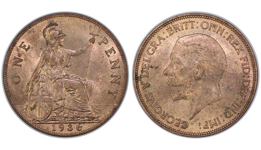 1936 Penny, George V, UNC, Freeman 214