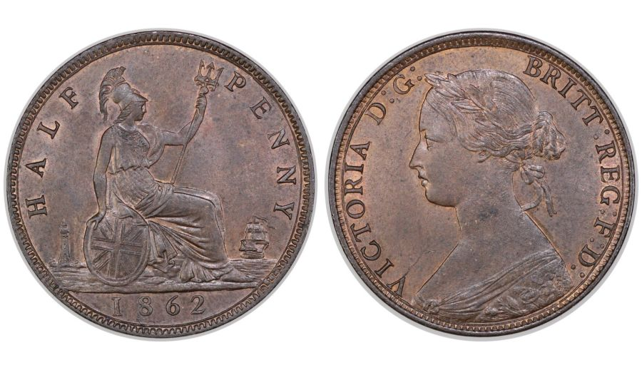 1862 Halfpenny, UNC or very near, Victoria, Freeman 289