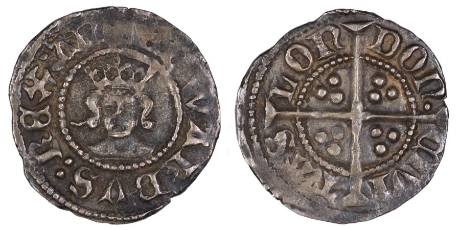 1361-9 Halfpenny, VF, Edward III, Treaty period, London mint, .6g, Waisted 0's, S. 1634, Withers 17, Ex Ray Inder collection