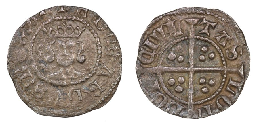 1361-9 Halfpenny, VF, 2nd I over ?, Edward III, Treaty period, London mint, .5g, S. 1634, Withers 17, Ex Ray Inder collection