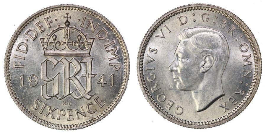 1941 sixpence, George VI, UNC, ESC 1831