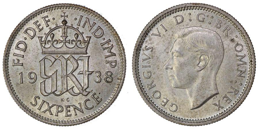 1938 Sixpence, George VI, nEF, ESC 1828