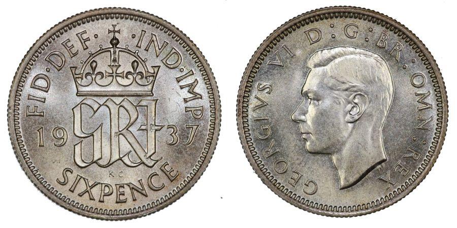 1937 Sixpence, Choice UNC, George VI, ESC 1826