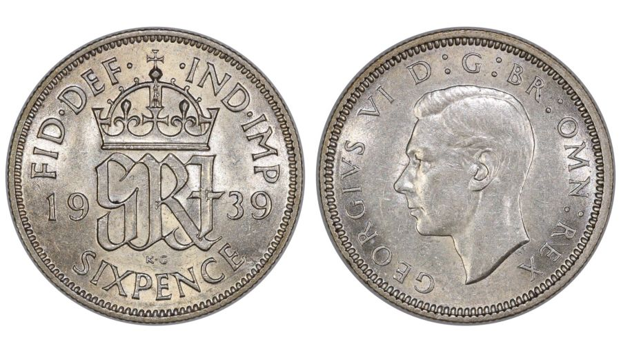 1939 Sixpence, George VI, nEF, ESC 1829