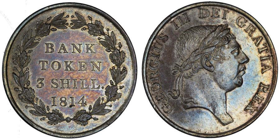 1814 Three shillings bank of England token, aUNC (ex ANACS MS 61), I over tilted I in Gratia, ESC 2083