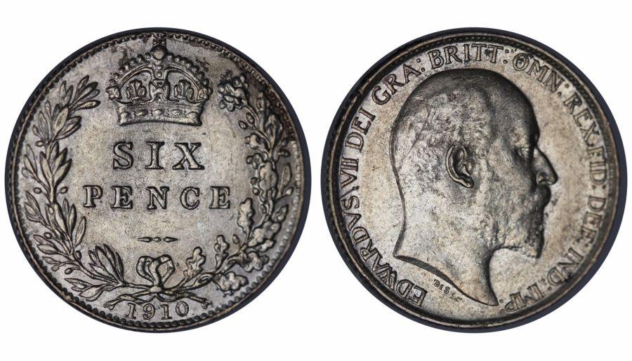 1910 Sixpence, 6d, Edward VII, ESC 1794
