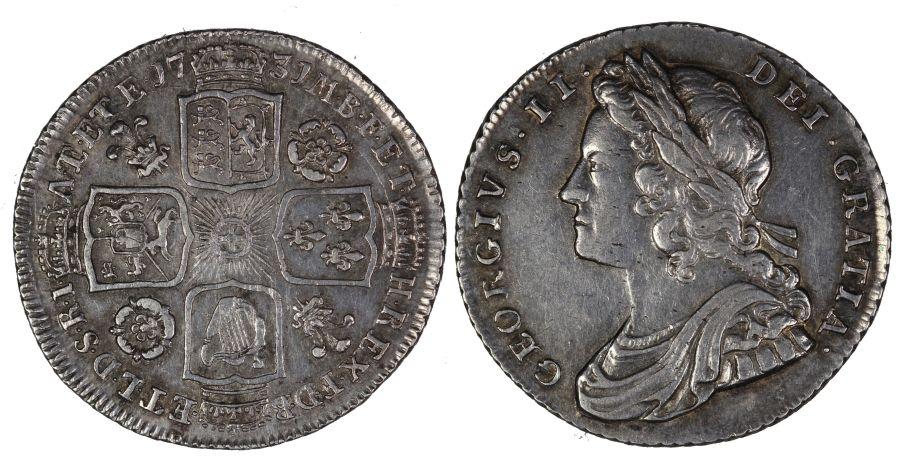 1731 Shilling, gVF, George II, Roses & Plumes,  Bull 1674, ESC 595