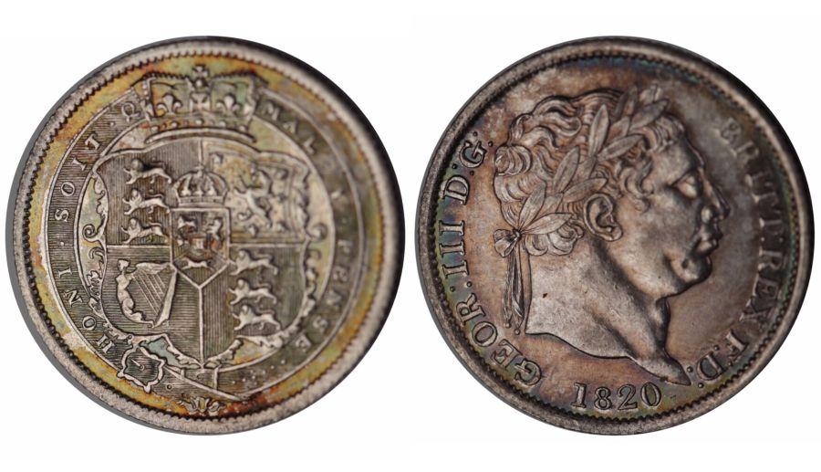 1820 Shilling, 1/-, EF, George III, ESC 1236, Davies 90