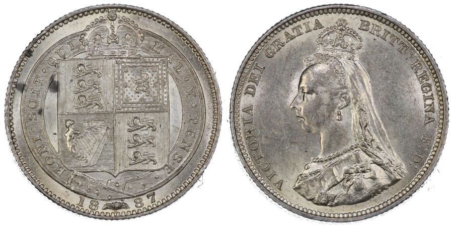 1887 Shilling, EF couple of spots, Dies 1C, DAvies 982