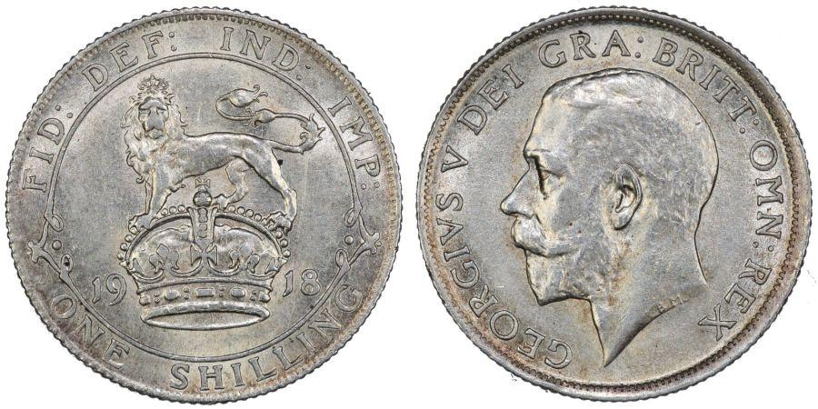 1918 Shilling, EF, George V, ESC 1428
