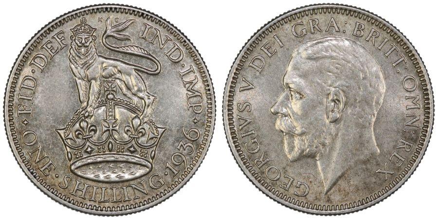 1936 Shilling, aUNC, George V, ESC 1449