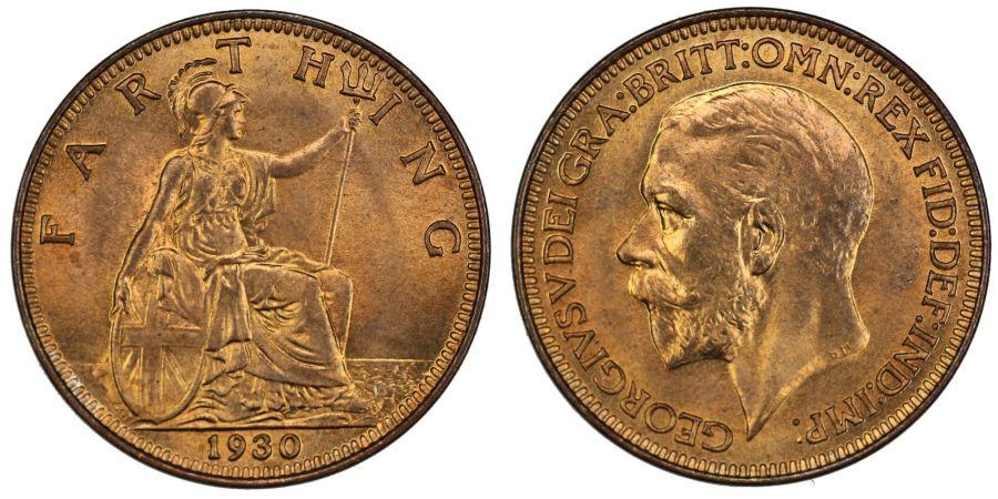 1930 Farthing, BU, George V, Freeman 613