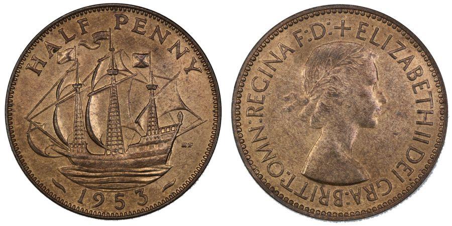 1953 Halfpenny, Obverse 1, Freeman 463, aUNC