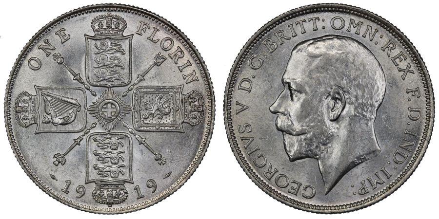 1919 Florin, 2/-, gEF, George V, ESC 938