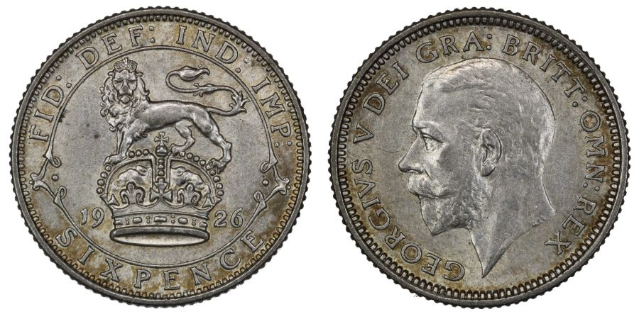 1926 Sixpence, gEF, Modified effigy, George V