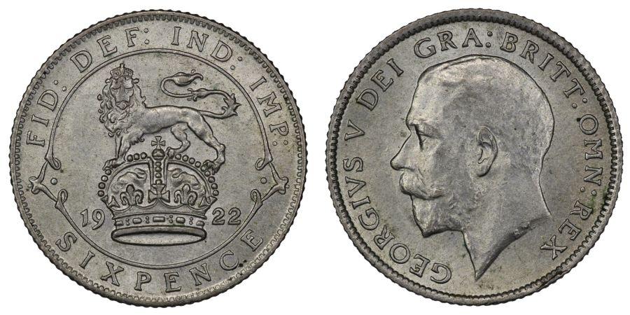 1922 Sixpence, nEF/EF, George V