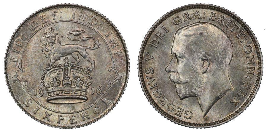 1916 Sixpence, EF, George V