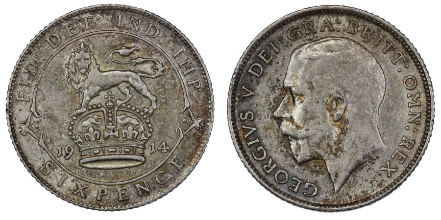 1914 Sixpence, VF, George V