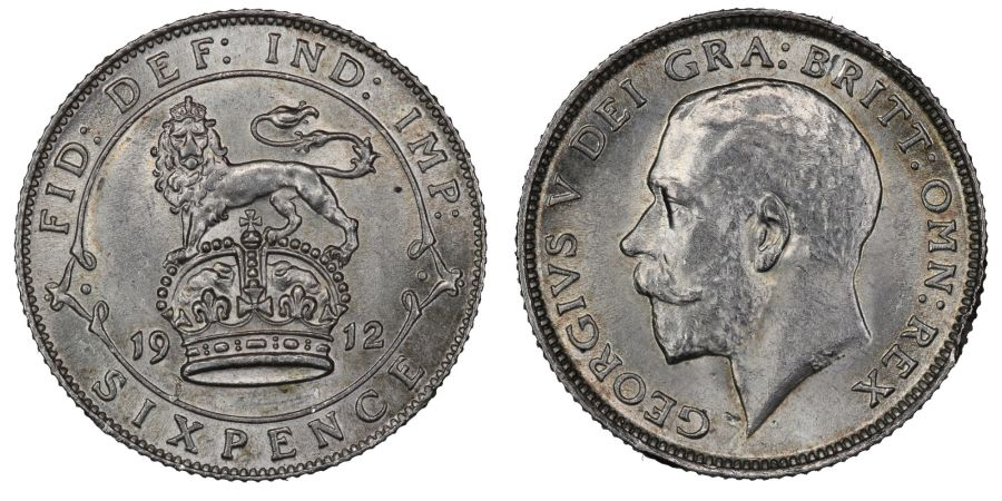 1912 Sixpence, gEF, George V