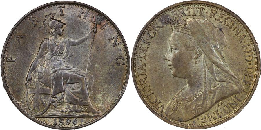 1896 Farthing, aUNC, Victoria, Freeman 572