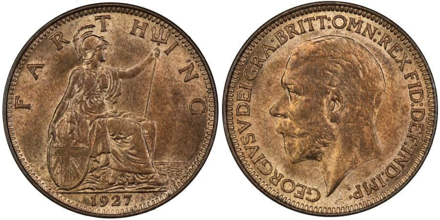 1927 Farthing, UNC, George V, Freeman 607