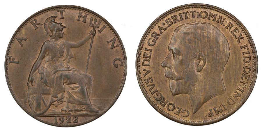 1922 Farthing, aUNC, George V, Freeman 601