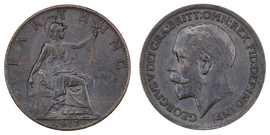 1917 Farthing, gEF/aUNC, George V, Fr. 596