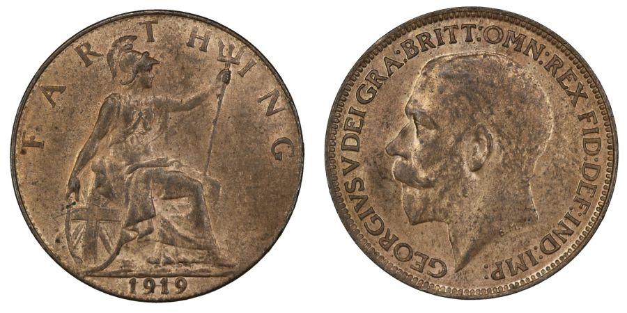1919 Farthing, aUNC, George V, Freeman 598