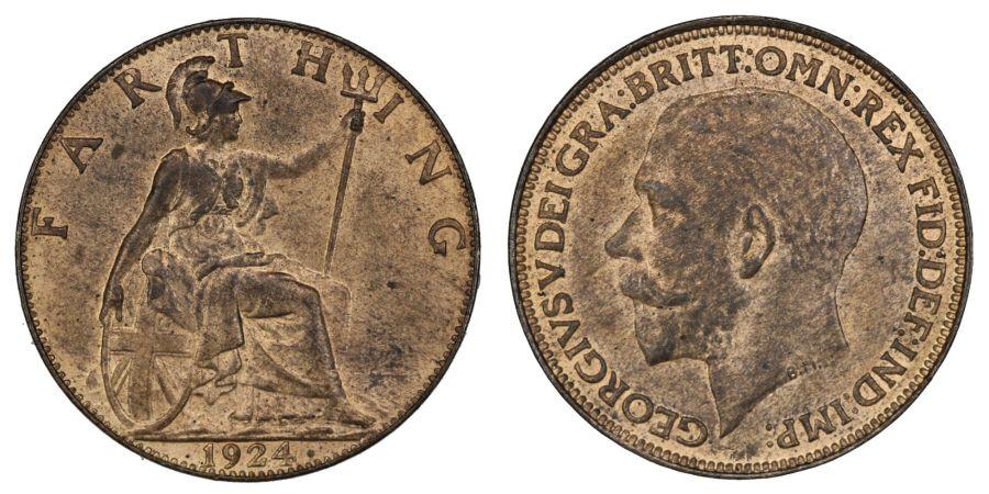 1924 Farthing, gEF, George V, Freeman 605