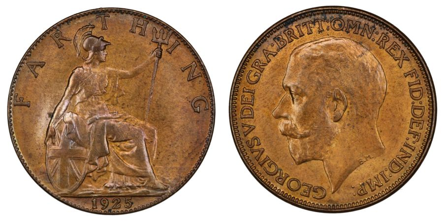 1925 Farthing, UNC couple spots, George V Freeman 604