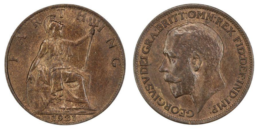 1921 Farthing, aUNC, George V Freeman 600