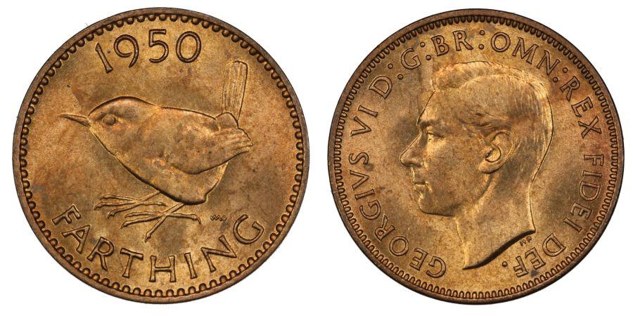 1950 Farthing, Choice UNC, Freeman 654, George VI
