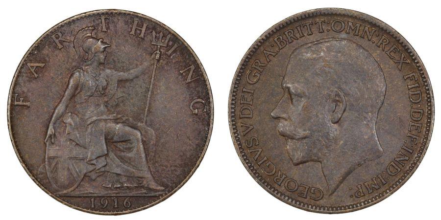 1916 Farthing, gEf, George V, Freeman 595