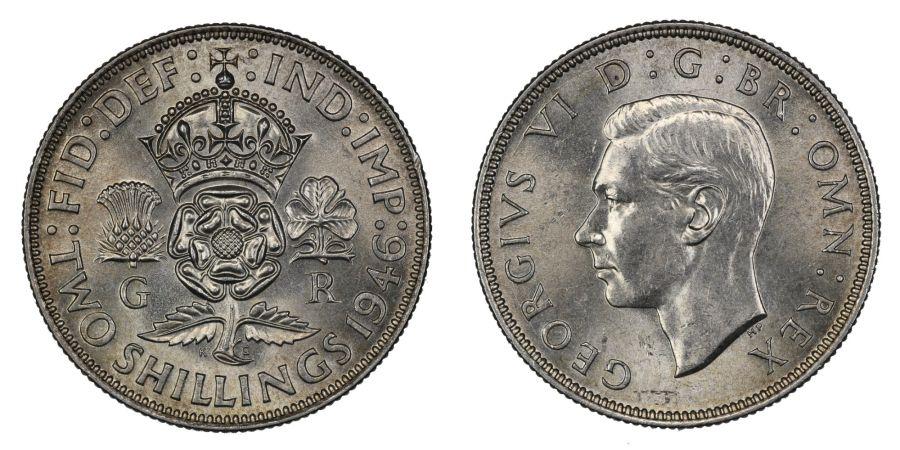 1946 Florin, 2/-, lustrous UNC, George VI, ESC 866