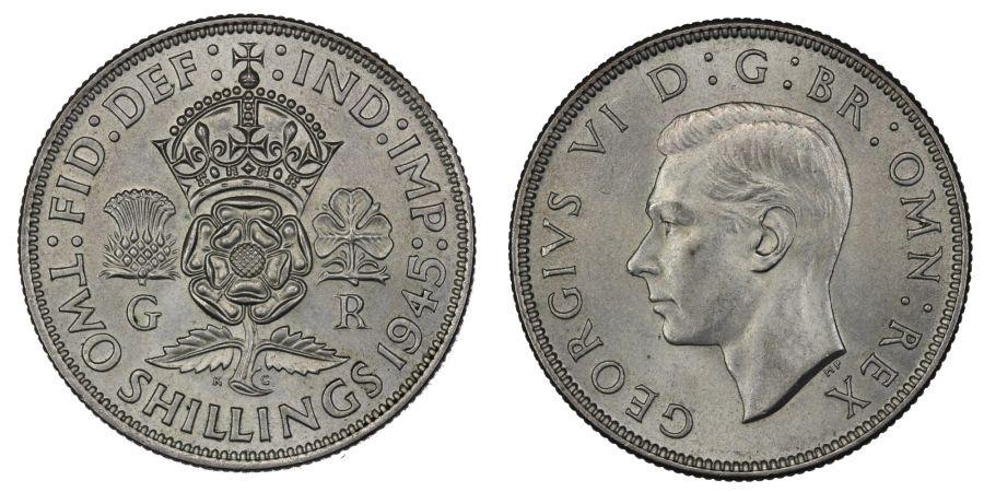 1945 Florin, 2/-, aUNC, George VI
