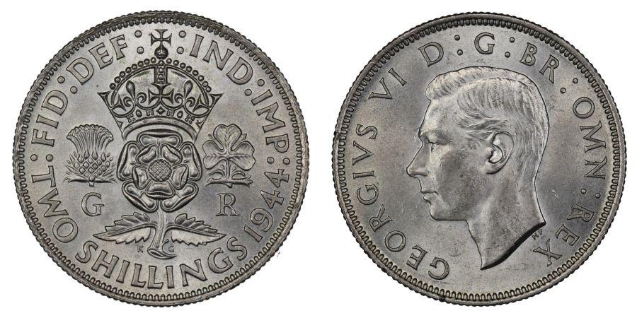 1944 Florin, 2/-, UNC, George VI, ESC 964