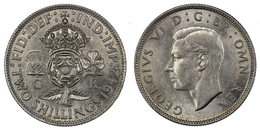 1942 Florin, 2/-, lustrous gEF, George VI, ESC 962