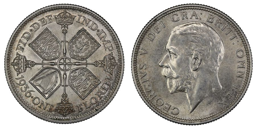 1936 Florin, 2/-, aUNC, George V, ESC 955