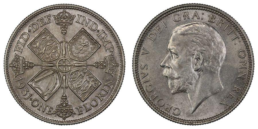 1931 Florin, 2/-, EF, GEorge V, ESC 951
