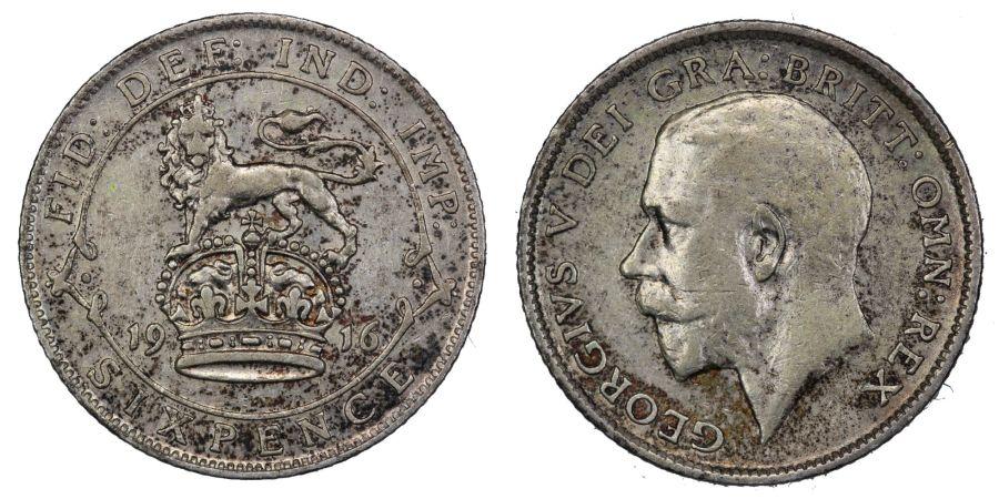 1916 Sixpence, nVF, ESC 1801, George V