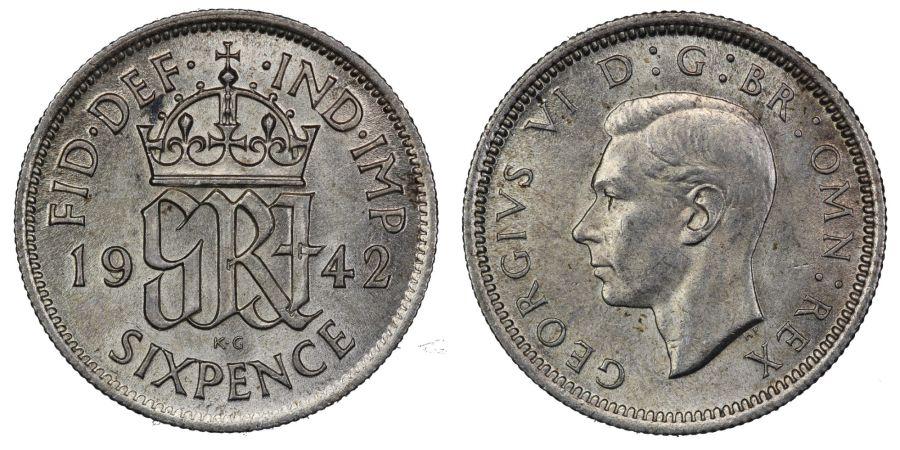 1942 Sixpence, aUNC/gEF, ESC 1832, George VI