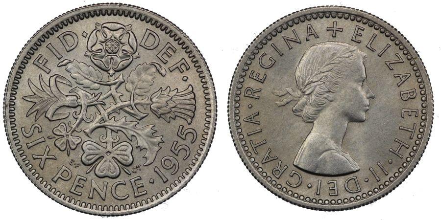 1955 Sixpence, ESC J, Elizabeth II