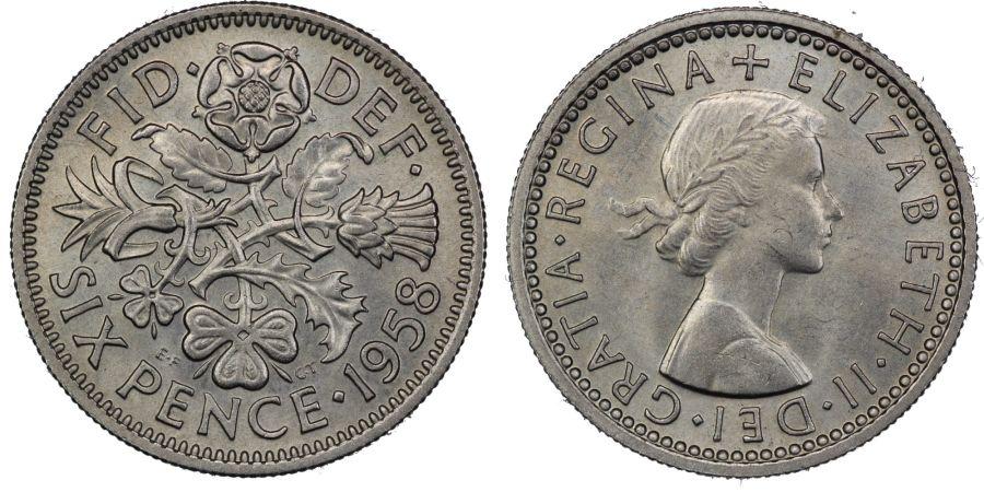1958 Sixpence, ESC M, Elizabeth II, UNC